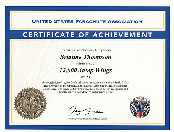 12,000 Skydives (2020) to Brianne Thompson