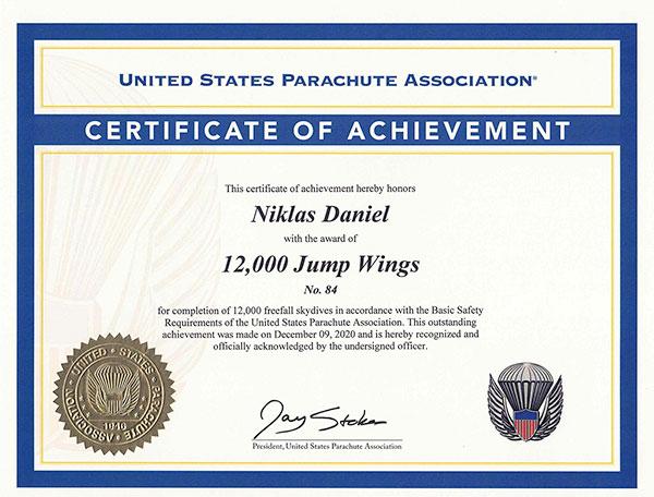 12,000 Skydives (2020) to Niklas Daniel