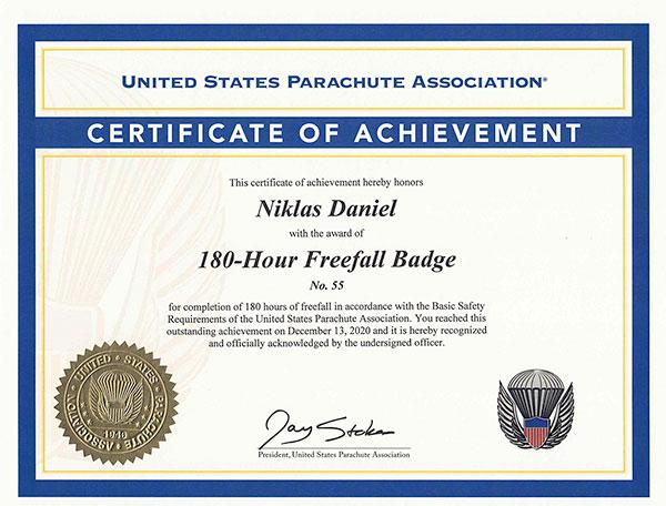 180 Hours of Freefall (2020) to Niklas Daniel