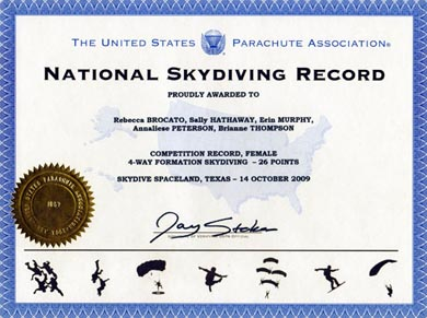 USPA National Skydiving Competition Record 2009: Female 4-Way Formation Skydiving - 26 Points