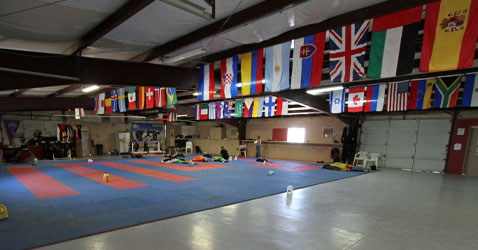 Skydiving facilities at Skydive Arizona: hangar with packing area 1